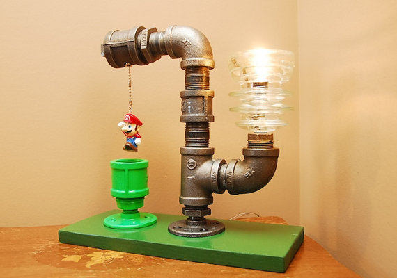 mario bros lampe selbstgeklempnerte lampe f r mario fans. Black Bedroom Furniture Sets. Home Design Ideas
