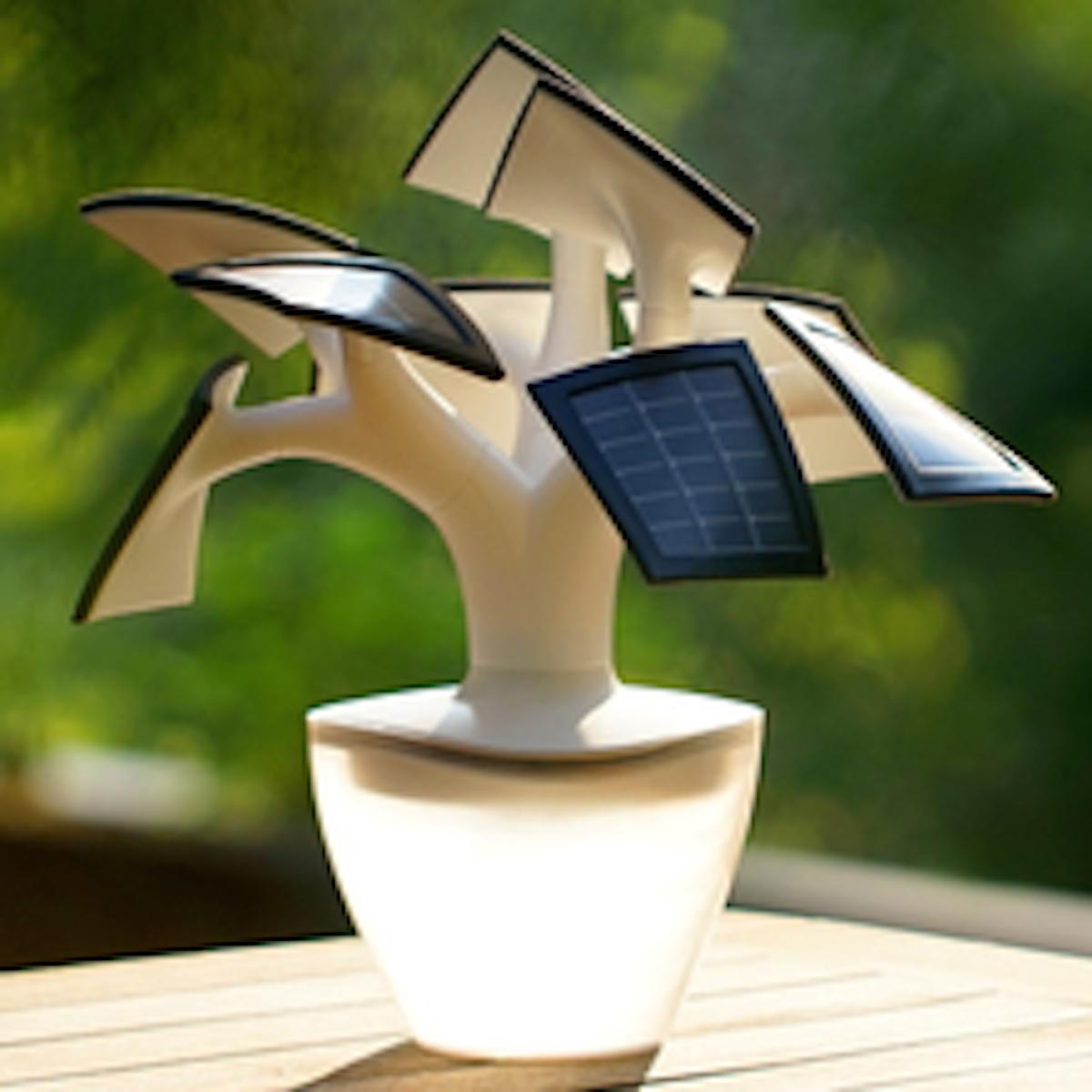 electree mini solarb umchen im blumentopf ist lampe und ladestation foerderland. Black Bedroom Furniture Sets. Home Design Ideas