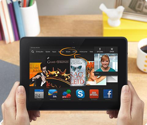 Amazon Kindle Fire: Tablet kostet 15 Euro weniger, wenn der Käufer dauerhaft Werbung über sich ergehen lässt. Bild: Amazon.