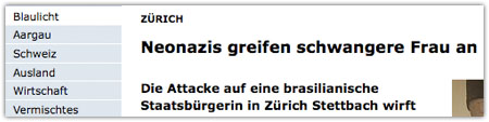 azonline.ch am 14. Februar 2009 (Screenshot)