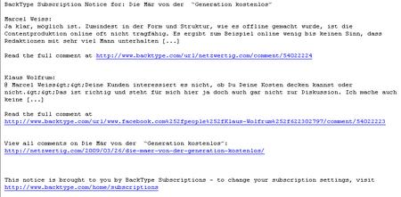 Eine Email von Backtype