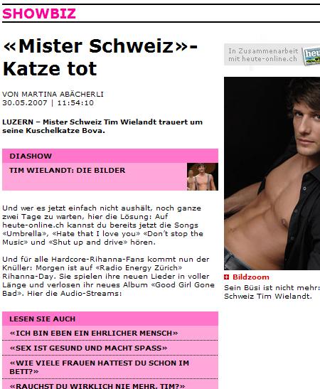 Blick Mister Schweiz Katze tot