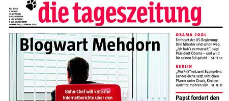 Titelseite der taz: Blogwart Mehdorn