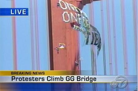 Free Tibet Golden gate Brücke Protest in San Francisco
