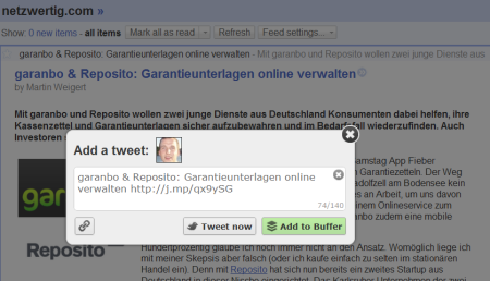 Buffer im Google Reader