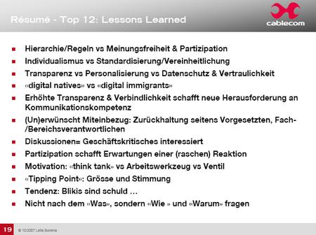 Cablecom Top 12 Lektionen gelernt