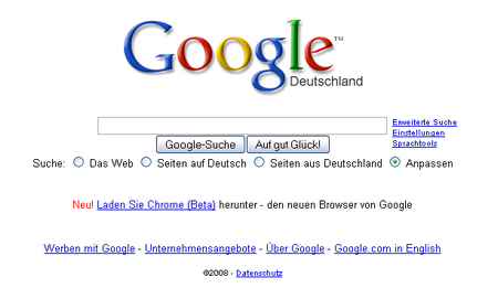 Chrome auf der Google-Startseite