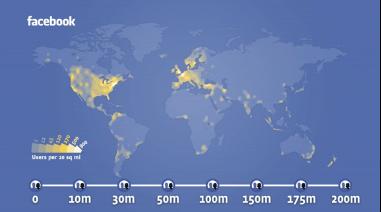 Die globale Verteilung der Facebook-Nutzer zeigt noch Raum nach oben