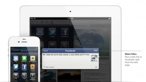 Apple bewirbt die neue Facebook-Integration intensiv.