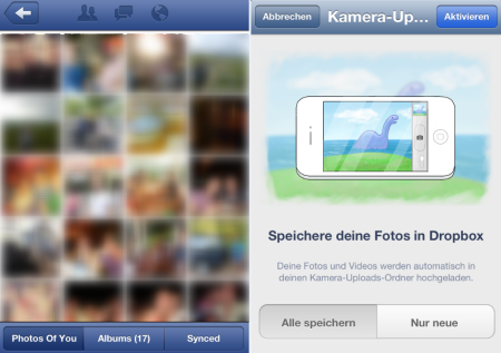 Facebook (links) und Dropbox