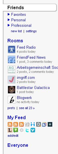 neue Sidebar bei Friendfeed