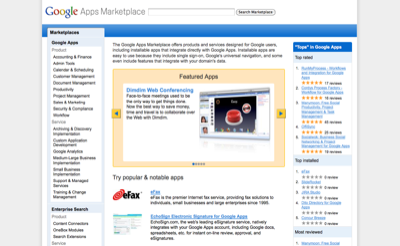 Screenshot Google Apps Marketplace
