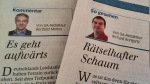 Ein paar Kommentare, sonst wenig Eigenes: Der GA vom Montag.