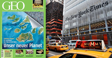 Geo im September, Hauptquartier der New York Times (Montage, Keystone/Mark Lennihan)