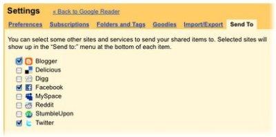 von Google Reader unterstütze Dienste