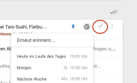 Erinnerungen und Erledigen-Funktion von Google Inbox. Grafik: Google