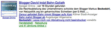 Google News: Bisher 63 Fundstellen
