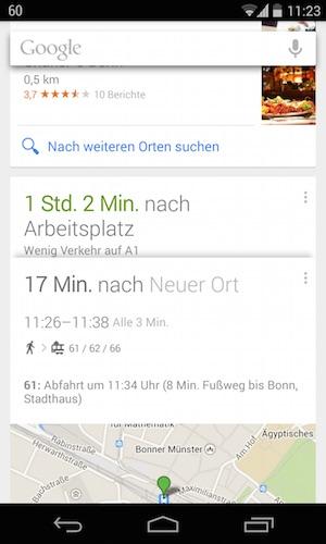 Kartendarstellung bei Google Now