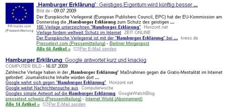 Hamburger Erklärung auf Google News