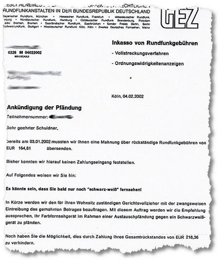 GEZ-Mahnschreiben