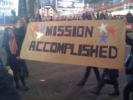 Obama-Anhänger feiern am Times Square
