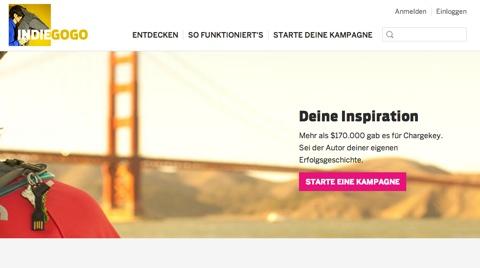 Startseite von Indiegogo