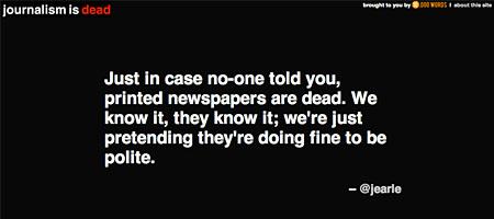 Sie machen doch nur Spaß: journalism-is-dead.com (Screenshot)