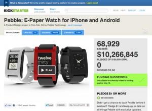 """Mit über 10 Millionen US-Dollar gehört die """"Pebble""""-Uhr zu den großen Kickstarter-Gewinnern der letzten Wochen."""