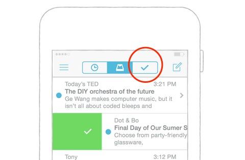 Das Original: Mails abhaken und damit verschwinden lassen auf der Mailbox-App für das iPhone. Grafik: Dropbox