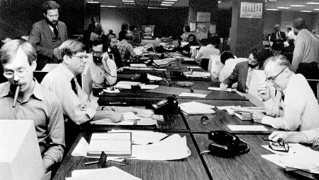 Vibrierender Newsroom der New York Times, 1978 (Keystone)