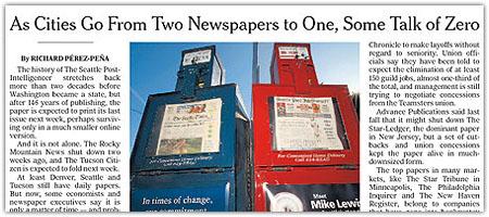 US-Zeitungskrise auf der Titelseite der NY Times (Screenshot)