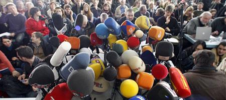 Pressekonferenz: Nur nicht in den Vordergrund rücken (Keystone)