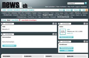Profilseite auf News1.ch
