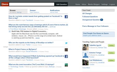 Quora-Hauptseite mit Newsfeed