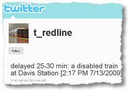 Servicemeldungen via Twitter in der Boston Subway.
