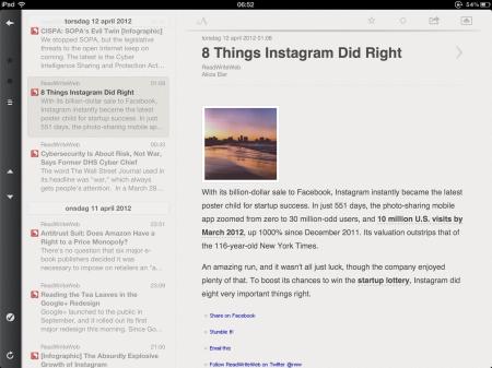 Gekürzter ReadWriteWeb-Feed in iPad-App Reeder