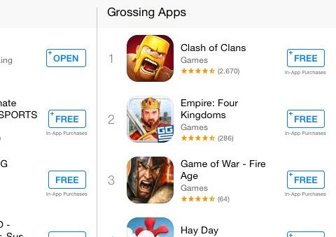 """""""Kostenlose"""" Spiele sind regelmäßig die Apps mit dem meisten Umsatz."""