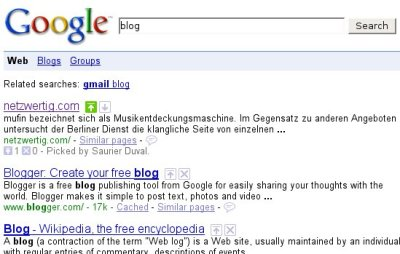Beispiel: netzwertig.com auf Platz 1 für die Suche nach 'Blog'