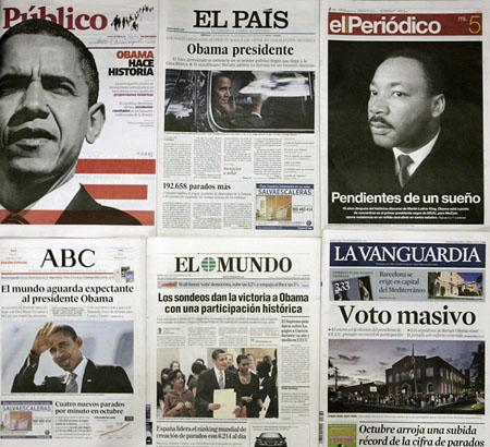 Spanische Zeitungen am 5. November (Keystone)