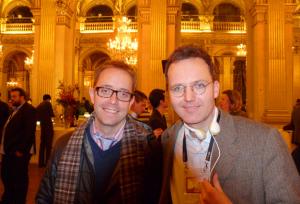 Martin Strickman (r) mit MG Siegler von TechCrunch auf dem LeWeb-Empfang im Rathaus von Paris