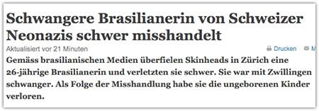 tagesanzeiger.ch am 11. Februar 2009 (Screenshot)