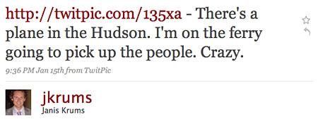Da ist ein Flugzeug im Hudson. Ich bin auf der Fähre, die die Leute aufnehmen wird. Verrückt.