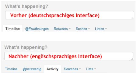 Bisher nur in der englischen Twitter-Version freigeschaltet: der Aktivitätenstream