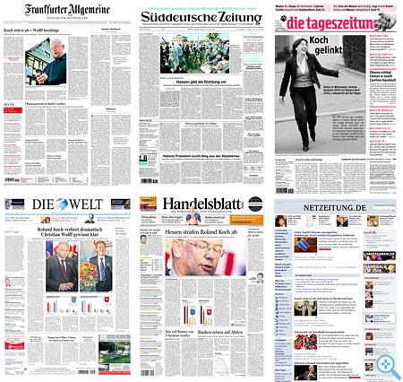 Zeitungstitel am 28. Januar 2008