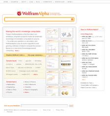 Die Startseite von Wolfram Alpha