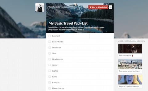 Packliste: Reine Listeneinträge wirken fad, können als abonnierte Liste aber sehr hilfreich sein, wenn z.B. ein Urlaub ansteht.