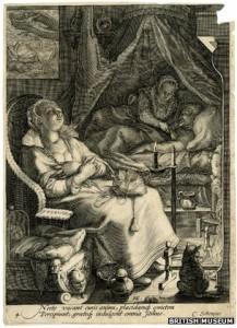 Eine Frau kümmert sich nachts um ihren Mann, Bild von Jan Saenredam (1595)