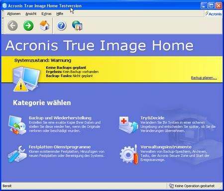 acronisNach der Installation weist Acronis True Image Home deutlich darauf hin, wenn keine Datensicherung geplant ist.