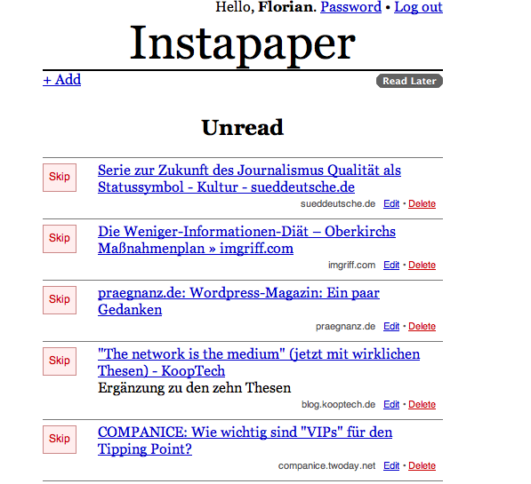 Instapaper-Screenshot