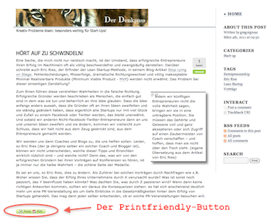 Der Printfriendly-Button im Blog-Artikel